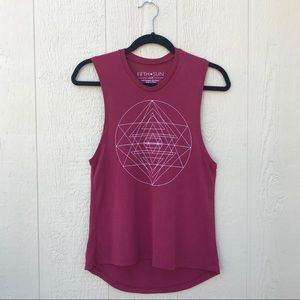 Fifth Sun | Red Geometric Burnout Graphic Tank S